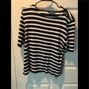 Ellen Tracy Black and White Striped Blouse